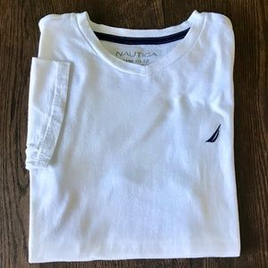 3/$20 Nautica White V Neck Tee Shirt Boys M 10/12